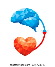 Connection between logic and emotion concept. Polygonal style of  Brain and heart. Vector illustration design isolated on white background.