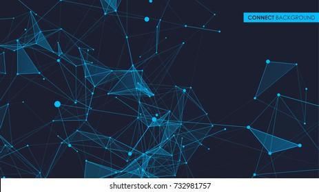 Connection blue science background