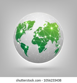 Connection concept. Global network connection World map abstract technology background global business innovation concept.