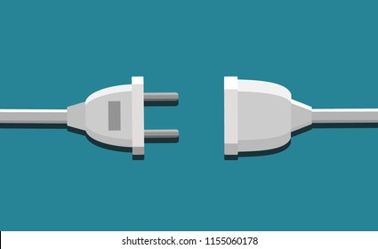 Connection, disconnection electricity. Vector illustration flat design.