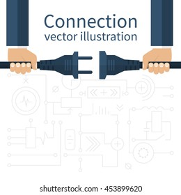 Connection, disconnection electricity. Vector illustration flat design. Men are holding in hand plug and socket to connect. Abstract concept isolated on the background of electric circuit.