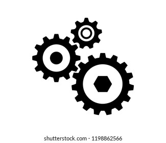 Connection of Gear Machine Template Sign Symbol Icon Logo Vector