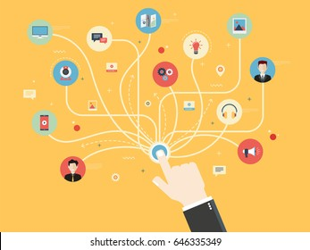 Connection hand with icons social media or social network. Concept communication and integrated in internet, marketing and internet business. Flat design vector illustration.