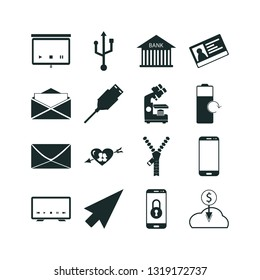connection icon set. computing cloud icon and usb cable icon vector icons.