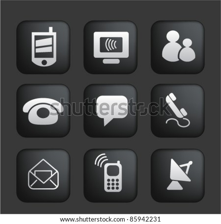 Connection Internet Square Black Web Buttons Stock Vector