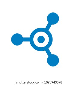 Connection and Letter O Vector Logo Design, Tech, Molecule, Hub, Blue Technology Icon Concept