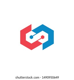 Connection Logo Template, CC monogram, Flat letter C with connection aspect . vector