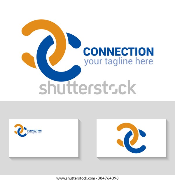 Connection logo template. Connection icon. Abstract double C logo. Double C icon. Business logo template. Connection of the two letters. Minimal design. Isolated logo