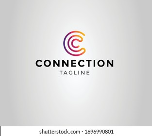 Connection Modern logo with letter c. business corporate template.Vector design elements for your company logo.