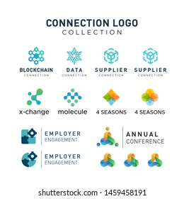 Connection network chain logo collection