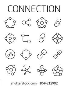 Connection related vector icon set. Well-crafted sign in thin line style with editable stroke. Vector symbols isolated on a white background. Simple pictograms.