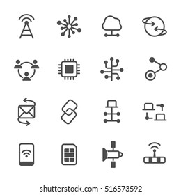 Connection vector icon set