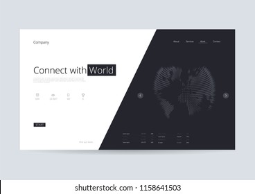 Connection World Map Landing Page Vector Illustration