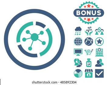 Connections Diagram icon with bonus images. Vector illustration style is flat iconic bicolor symbols, cobalt and cyan colors, white background.