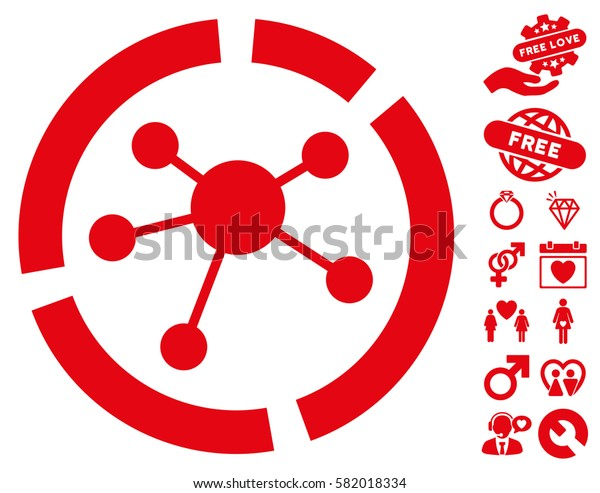 Connections Diagram pictograph with bonus romantic design elements. Vector illustration style is flat iconic red symbols on white background.