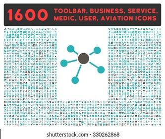 Connections vector icon and 1600 other business, service tools, medical care, software toolbar, web interface pictograms. Style is bicolor flat symbols, grey and cyan colors, rounded angles, white