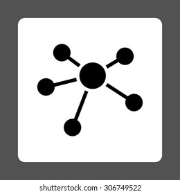 Connections vector icon. This flat rounded square button uses black and white colors and isolated on a gray background.