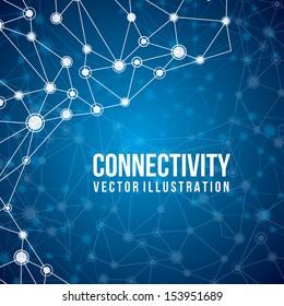 connectivity design over blue  background vector illustration