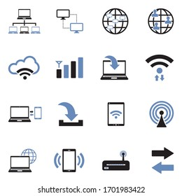 Connectivity Icons. Two Tone Flat Design. Vector Illustration.