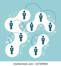 Connectivity people over blue background  vector illustration