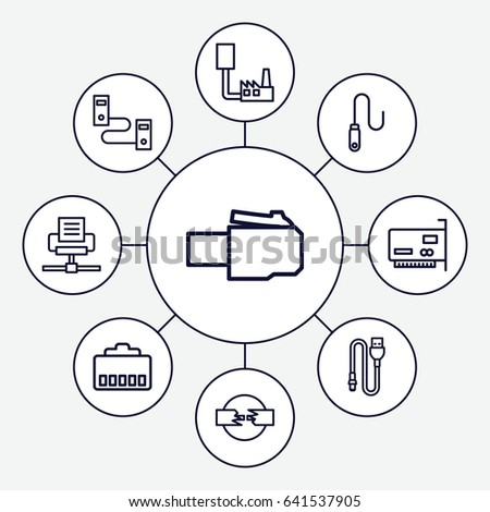 Connector Icons Set Set 9 Connector Stock Vector Royalty Free