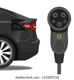 Connector SAE J1772 and car with the same socket. Flat illustration