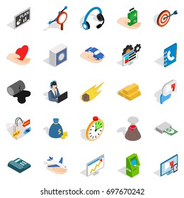 Connexion icons set. Isometric set of 25 connexion vector icons for web isolated on white background