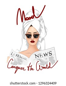 Conquer the world slogan with girl in sunglasses illustration. Perfect for home decor such as posters, wall art, tote bag, t-shirt print, sticker, post card.