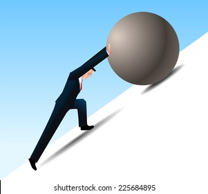 Conquering Adversity businessman pushing a rock uphill