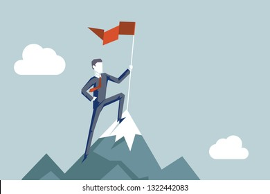 Conquering heights flag businessman character conqueror achievement top point goal mountain background business concept flat design vector illustration