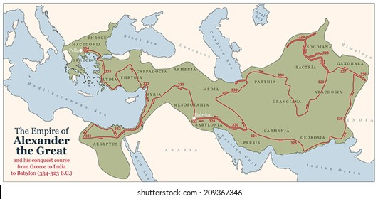 Conquest course of Alexander the Great from Greece to India to Babylon in 334-323 B.C. with the most important provinces of his empire. Vector illustration.
