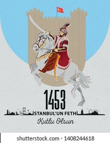 Conquest of Istanbul in 1453 and Vector Illustration of Fatih Sultan Mehmet