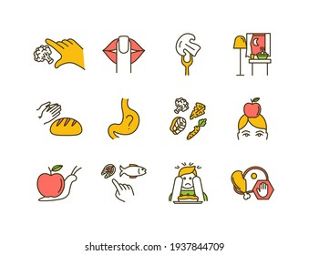 Conscious nutrition RGB color icons set. Promoting health habits. Taking small bites. Uncontrolled eating. Appreciation for food. Body weight control. Eating mindfully. Isolated vector illustrations