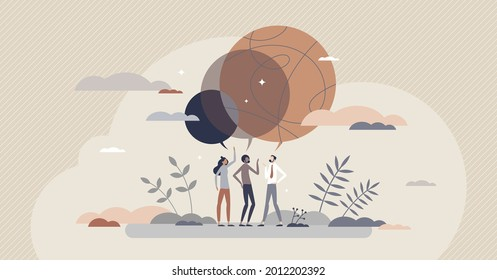 Consensus as common agreement and merged group thoughts tiny person concept. Each opinion in team connected together for solidarity and discussion unanimity vector illustration. Agree and accept topic