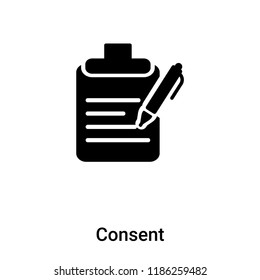 Consent icon vector isolated on white background, logo concept of Consent sign on transparent background, filled black symbol