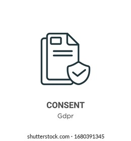 Consent outline vector icon. Thin line black consent icon, flat vector simple element illustration from editable gdpr concept isolated stroke on white background