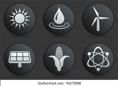 Conservation Icons on Black Internet Button Collection Original Illustration