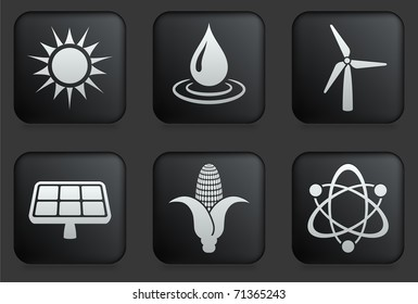 Conservation Icons on Square Black Button Collection Original Illustration