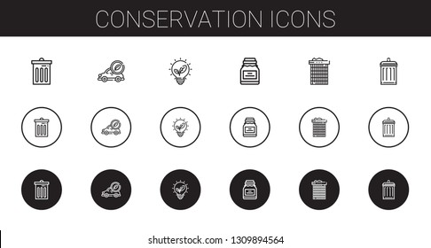 conservation icons set. Collection of conservation with trash, electric car, renewable energy, conserve, recycle bin, garbage. Editable and scalable conservation icons.