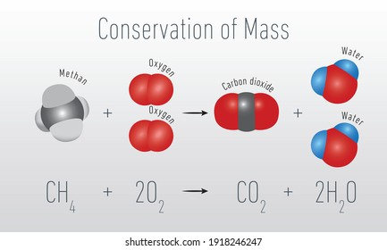 Conservation of mass-energy. Methane, Oxygen, Carbon dioxide, Water.