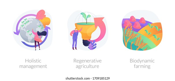 Conservation and rehabilitation farming system abstract concept vector illustration set. Holistic management, regenerative agriculture, biodynamic farming, ecological biodiversity abstract metaphor.