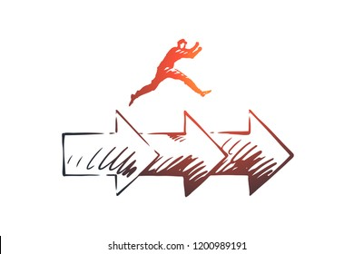 Consistency, business, arrow, success concept. Hand drawn man jumping on arrows concept sketch. Isolated vector illustration.