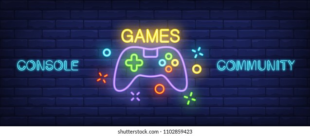Console Community neon style banner. Gamepad on brick background. Videogame, game club, leisure. Can be used for advertising, street wall sign, web design