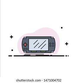 Console, device, game, gaming, psp Flat Color Icon Vector. Vector Icon Template background
