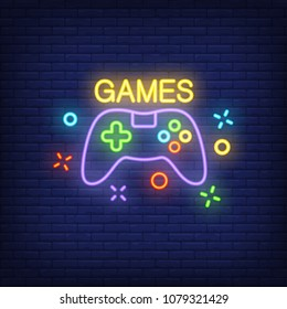 Console with Games lettering. Neon sign on brick background. Videogame, online game, hobby. Game concept. For topics like entertainment, leisure, nightlife