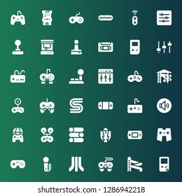 console icon set. Collection of 36 filled console icons included Gameboy, Slider, Gamepad, Atari, Joystick, Fighting game, Volume adjustment, Sega, Gameplay, Levels, Gamepads