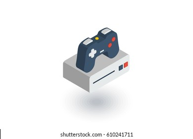 Console and joystick, gaming isometric flat icon. 3d vector colorful illustration. Pictogram isolated on white background