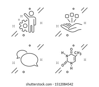 Consolidation, Employee and Messenger line icons set. Chemical formula sign. Strategy, Cogwheel, Speech bubble. Chemistry. Business set. Line consolidation outline icon. Vector