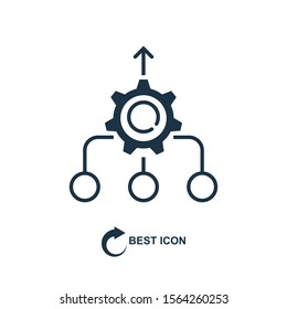 Consolidation icon in line style on white background, vector illustration