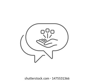 Consolidation line icon. Chat bubble design. Business strategy sign. Outline concept. Thin line consolidation icon. Vector